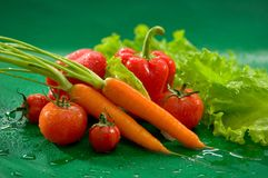 Vegetables - carrots with tops, red tomatoes, red bell pepper, paprika, green salad leaves royalty free stock image