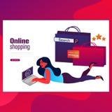 Онлайн знамя сети покупок Обслуживание клиента и доставка, отслеживать и приобретение иллюстрация вектора