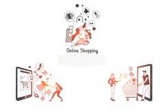Онлайн ходить по магазинам - люди приказывая и делая приобретение через мобильный ходя по магазинам набор концепции вектора иллюстрация штока