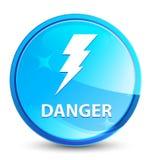Опасность (значок электричества) брызгает естественную голубую круглую кнопку иллюстрация штока