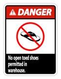 опасность символа никакие открытые Toed ботинки не подписывают на белой предпосылке иллюстрация штока