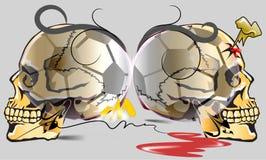 Опасность черепа и искусство футбола иллюстрация вектора