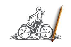 Осень, велосипед, падение, парк, концепция езды Вектор нарисованный рукой изолированный иллюстрация штока