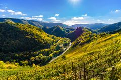 Осень в Ahrtal на Altenahr стоковые фото