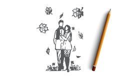Осень, пара, любовь, падение, романтичная концепция Вектор нарисованный рукой изолированный бесплатная иллюстрация