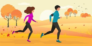 Vector illustration of woman and man running through autumn forest stock illustration