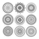 Ослабьте набор мандалы Мандалы мандал конспекта этнические модельные с орнаментом геометрического круга повторения круглым иллюстрация вектора