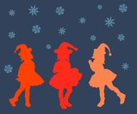 Silhouette, woman, illustration, people, dance, vector, love, beauty, party, christmas, happy, boy, hair, beautiful, abstract, red royalty free stock images