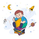 Vector illustration of a little boy reading a book and dreaming of flying in space royalty free illustration