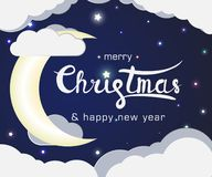 Lettering sign merry christmas and happy new year stock illustration