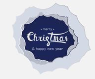 Lettering sign merry christmas and happy new year vector illustration