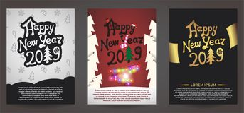 Set of happy new year 2019 greeting card stock illustration