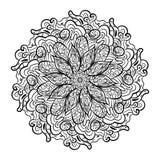 Mandala pattern black and white stock illustration