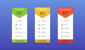 Vector design for web app. Set offer tariffs. Price list. royalty free illustration