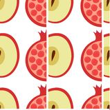 Apple and pomegranate pattern vector illustration