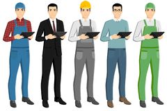 Set of asian men with a digital tablet. Foreman, businessman, engineer, casual, farmer. Isolated on white. Vector illustration stock illustration