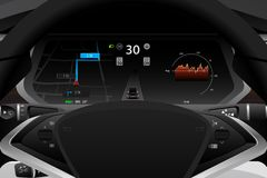 Self driving electric car dashboard. Display closeup. Speedometer, navigation, battery level and efficiency indicator, autopilot symbol. Vector illustration royalty free illustration