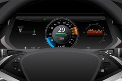 Electric car dashboard display closeup. royalty free stock photography