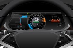 Electric car dashboard display closeup. stock photo