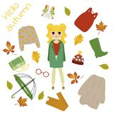 Illustration of a girl in autumn clothes royalty free illustration
