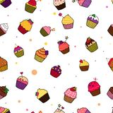 Illustration pattern of cupcakes stock illustration