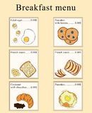 Breakfast menu design. Vector cartoon illustration. stock illustration