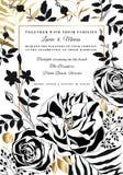 Vector floral wedding invitation. Black and white roses and peonies. Floral wedding invitation. Black and white roses and peonies stock illustration