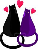 Two black and violet cats lovers royalty free illustration