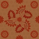 Indian seamless pattern dark red maroon on copper background royalty free illustration