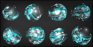 Design elements set in dark colors icons. 3D Balls royalty free illustration