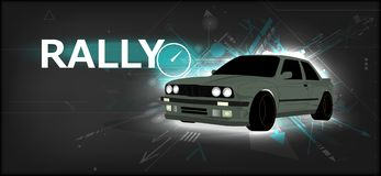 Rally poster, detailed sports car stock illustration
