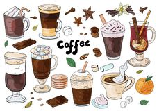 Set of hand drawn different types of coffee on the white background. For cafe menu. stock image