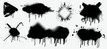 Black splashes isolated on white background. Abstract black spray vector illustration