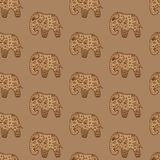 Seamless pattern brown elephants ethnic Indian ornate vector illustration