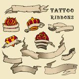 Tattoo Ribbon Set. For tattoo design royalty free stock photo