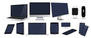 Vector minimalistic 3d isometric illustration set device royalty free illustration