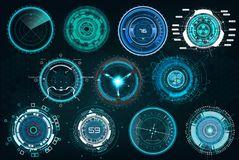 Set circle elements in a futuristic HUD style royalty free illustration