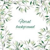 Text frame with gentle green leaves for greeting, invitation and greeting text. royalty free illustration