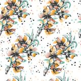 Background of orange contour flowers on a white background. Floral ornament drawn in ink, watercolor. stock illustration