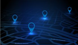 Gps tracking map. Track navigation pins on street maps. Futuristic design navigate mapping technology and locate position pin. Gps map or location navigator stock illustration