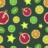 Fruit pattern. Pomegranate, orange, lemon, lime, kiwi, carambola. On a dark green background. Juicy fruit. Vector illustrati royalty free illustration