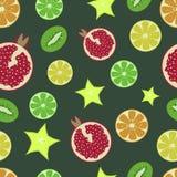 Fruit pattern. Pomegranate, orange, lemon, lime, kiwi, carambola. On a dark green background. Juicy fruit. Vector illustrati royalty free illustration