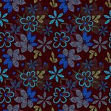 Raster floral seamless pattern, shaded decorative simple flowers and leaves stock illustration