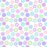Raster  floral pattern in gentle pastel colors on a white background. Set of multicolored decorative flowers vector illustration