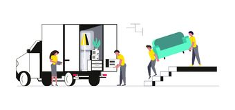 Concept of family with kids moving into a new house. With things. Concept for Transport company isolated on white background. Movers carrying a sofa and royalty free illustration