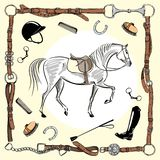 Horse equestrian riding gear tack tool in leather belt bridle frame on white. Vector saddlery set bit, whip, brush, horse shoe, riding boot, snaffle. Equine vector illustration