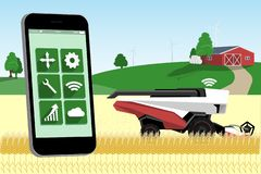 Control of autonomous harvester by mobile app royalty free illustration