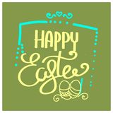 Happy Easter Hand drawn calligraphy. Spring color postcard,design for holiday greeting card and invitation of the happy Easter day vector illustration