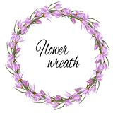 Spring floral wreath of gentle pink flowers for decoration, cards, greetings. Vector illustration of pink crocuses. Spring floral wreath of gentle pink flowers royalty free illustration