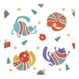 Cute Christmas cats in knitted sweaters. Seamless pattern. vector illustration